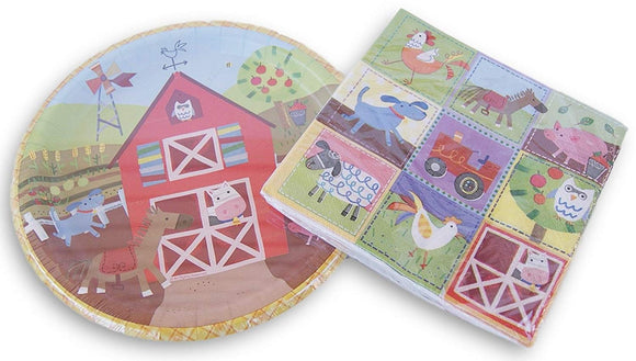 Farmhouse Animal Party Patterned Supply Kit - Dinner Plates And Napkins
