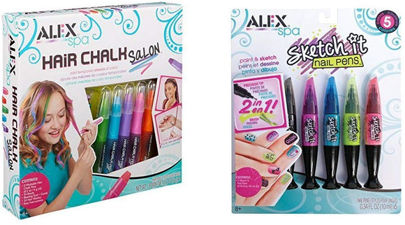 Alex Spa Hair Chalk Salon With Alex Spa Hot Hues Sketch It Nail Pens Bundle
