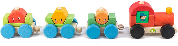 Tender Leaf Toys Tl8337 Happy Train - Pull Along Sorting & Stacking Wooden Train Toy - Improves Visual Memory & Shape Recognition Skills - Interactive Cognitive Development - 18 Months +, Multicolor