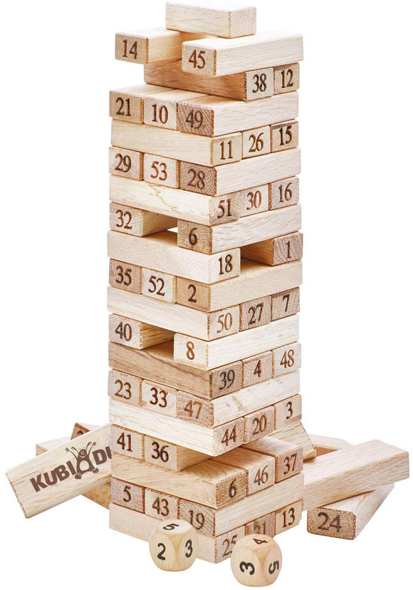 Kubi Dubi Wooden Stacking Games - Toys For 4 5 Year Old Boys. Number Blocks Tower Is Exuberant Fun.