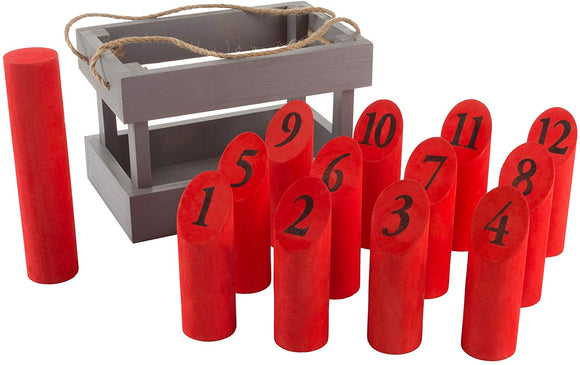 Wooden Throwing Game-Complete Set, 12 Numbered Pins, Throwing Dowel, Carrying Crate-Outdoor Lawn Games For Adults And Kids (Red/Gray)
