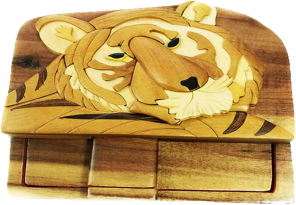 Bengal Tiger Jungle Zoo Hand-Carved Puzzle Box With No Paints! No Stains! Hidden Felt Lined Interior That Hides Jewelry, Gift Cards, Or Money. No Two Will Ever Be Identical! Pet Carvers