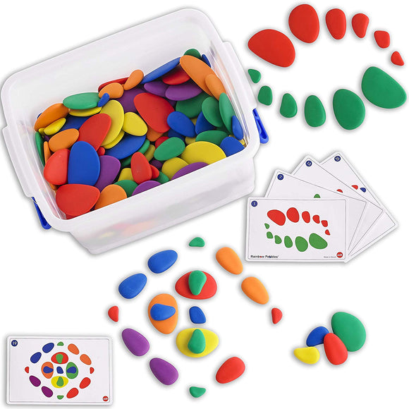 Edx Education Rainbow Pebbles Classroom Set - Sorting And Stacking Stones - Mega Set Includes 252 Pebbles + Activity Cards + Spinners
