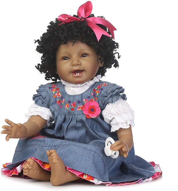 Npkdolls Reborn Baby Doll Girl 22Inch Realistic Soft Silicone Baby Newborn Black Doll African American Black Curly Hair Denim Dress Gift Set For Ages 3+
