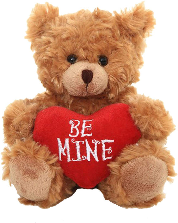Plushland Stuffed Mocha Heart Bear  Be Mine- Plush Bear Toy For Kids & Adults - Embroidered Heart Pillow - Brown-6 Inches