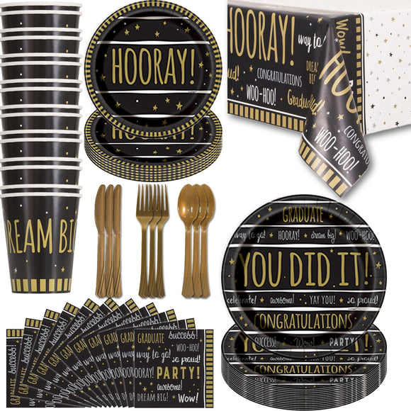 Graduation Party Supplies - 16 Guest - Dinner Plates, Dessert Plates, Napkins, Cups, Tablecloths, Cutlery. Gold And Black Disposable Tableware Set