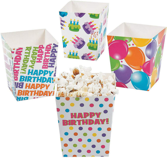 Fun Express - Happy Birthday Popcorn Boxes For Birthday - Party Supplies - Containers & Boxes - Paper Boxes - Birthday - 24 Pieces