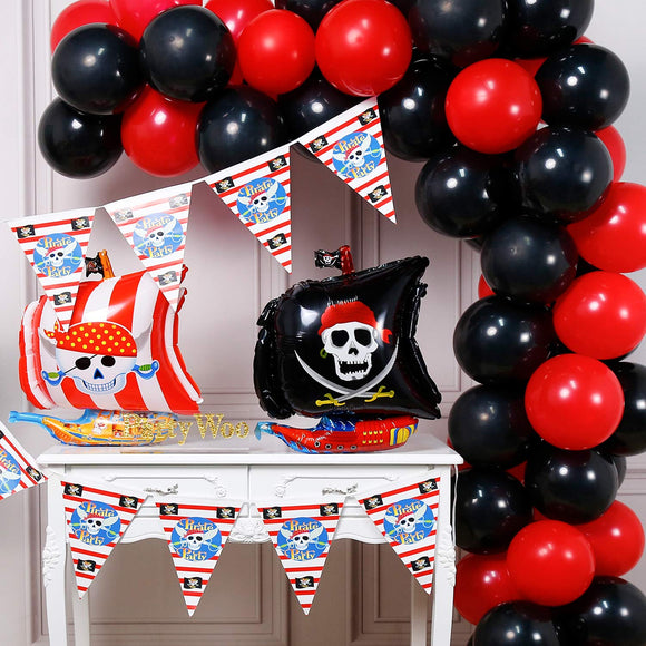Partywoo Pirate Balloons, 43 Pcs 12 In Black Red Balloons, 24 In Pirate Ship Balloons, Pirate Mylar Balloons, Pirate Banner, Red And Black Balloons For Pirate Party Decorations, Pirate Birthday Party