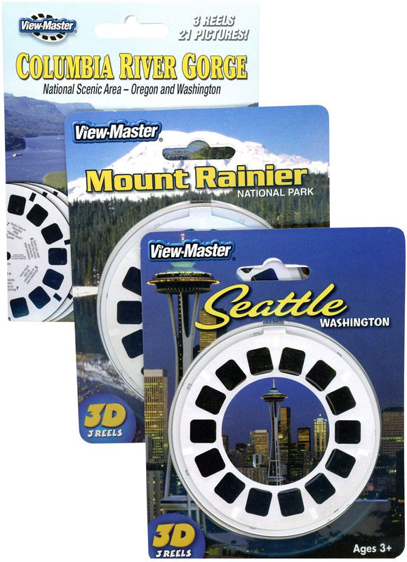 Columbia River Gorge - Mt Rainier - Seattle - Triple Vintage Viewmaster Set - 9 Reels