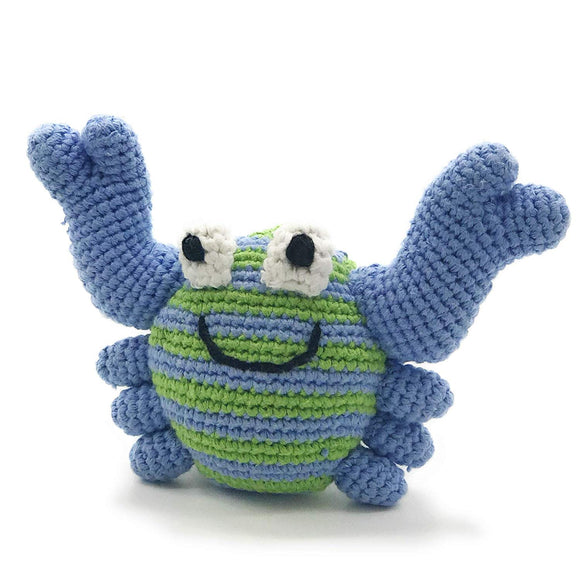 Pebble | Handmade Crab Baby Rattleblue | Ocean | Beach | Coastal | Crochet Baby Toy | Fair Trade | Machine Washable