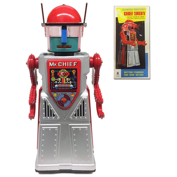 Off The Wall Toys Vintage Style Collectible Chief Smoky Robot - Silver Robotman
