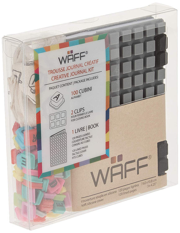 Waff, Soft Silicone Cube Tiles And Notebook / Journal Combo, Mini, 4.25