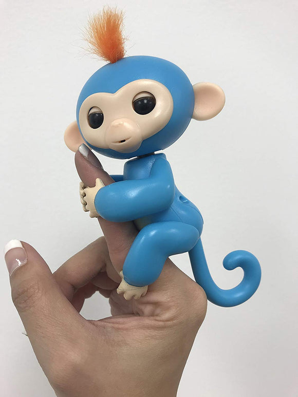 Finger Baby Monkey- Veera (Blue With Orange Hair) Interactive Iplay Toys - Keeps Kids Happy
