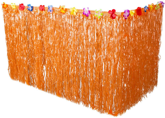 Blulu 9 Feet Hawaiian Luau Grass Table Skirt Colorful Silk Faux Flowers Hula Grass Table Skirt For Party Decoration, Events, Birthdays, Celebration (Orange)