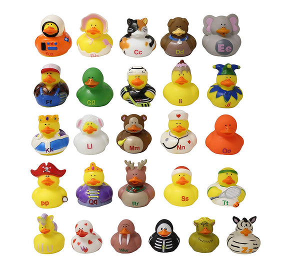 Curious Minds Busy Bags Alphabet Ducks - Rubber Duckies For Each Letter Of The Alphabet - Beginning Letter Educational Learning Toy