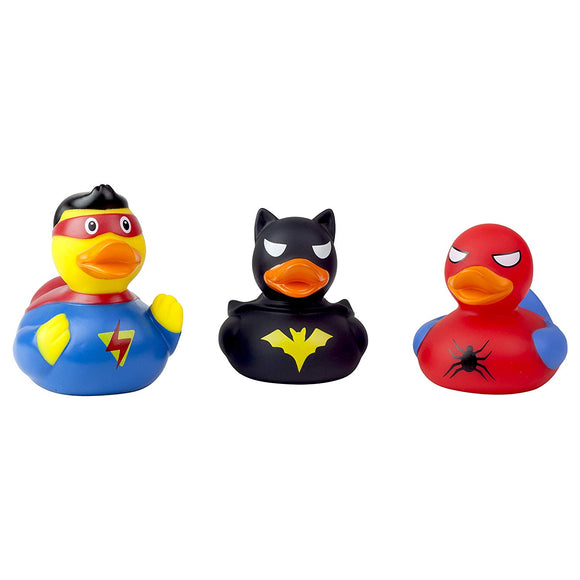 Lilalu 3Pc Superhero Rubber Duck Bath Time Toy Collection