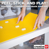Peel-And-Stick Baseplates - Self Adhesive Building Brick Plates - Compatible With All Major Brands - - Yellow - 10 Inch X 10 Inch - By Creative Qt