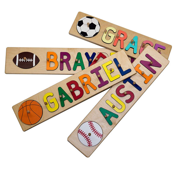 South Bend Woodworks Sports Themed Custom Wooden Name Peg Puzzle 10-12 Characters (Including Spaces)