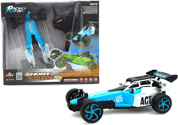Papa Toys Electric Off Road Rc Cars High Speed 4Wd 2.4Ghz Radio Remote Control Racing Drift Toy Car Kit 1/24 Scale Usb Charging Radio Controlled Vehicle Rc Formula Car (Blue)