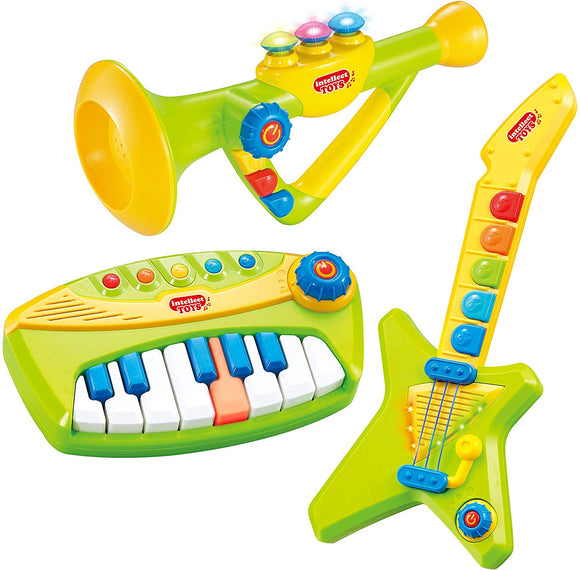 Top Right Toys 3 In 1 Musical Instrument Set Piano, Guitar And Trumpet Combo For Toddlers- With Sound, Lights And Popular Pre-Recorded Songs
