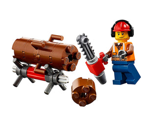 Lego City Minifigure: Forester Tree Trimmer (W/ Chainsaw & Tree Log) Set 60181
