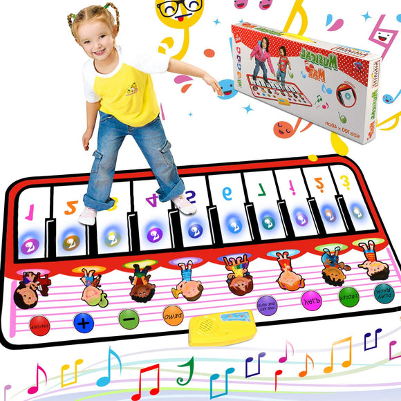 Musical Piano Mat Piano Keyboard Play Mat Portable Electronic Educational Musical Blanket With 10 Flashing Led Lights Speaker & Recording Function Gifts For Kids Toddler Girls Boys Christmas