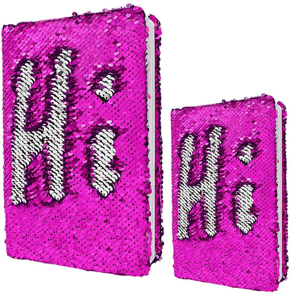 Vipbuy Magic Reversible Sequin Journal Diary Wide Ruled & Blank Notebooks Gift For Kids Adults, Size A5 + A6, Rose Red To Silver
