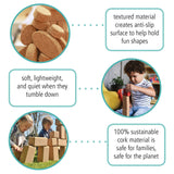 Ecr4Kids Korxx Eco-Shapes With Storage Container - Cork Building Block Set For Kids (60-Piece Kit)