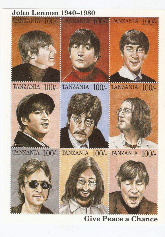 The Beatles - John Lennon - Give Peace A Chance Sheet Of 9 Tanzania Collectors Stamps