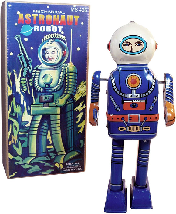 Off The Wall Toys Rare Find Retro Tin Toy Mechanical Astronaut Robot Collectible Wind-Up Figure