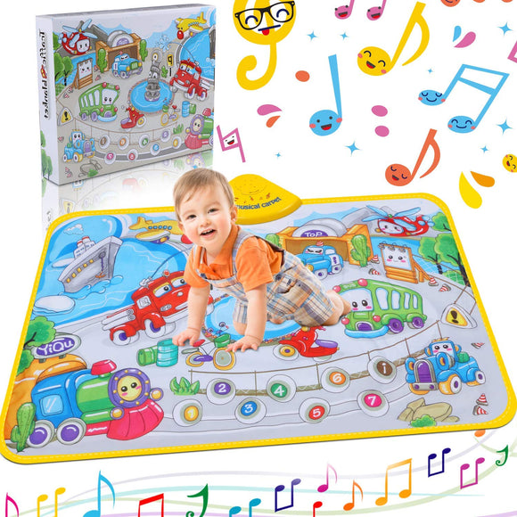 Musical Piano Mat Piano Keyboard Play Mat Portable Electronic Educational Musical Blanket With Sounds Of 10 Vehicles Gifts For Kids Toddler Girls Boys Christmas