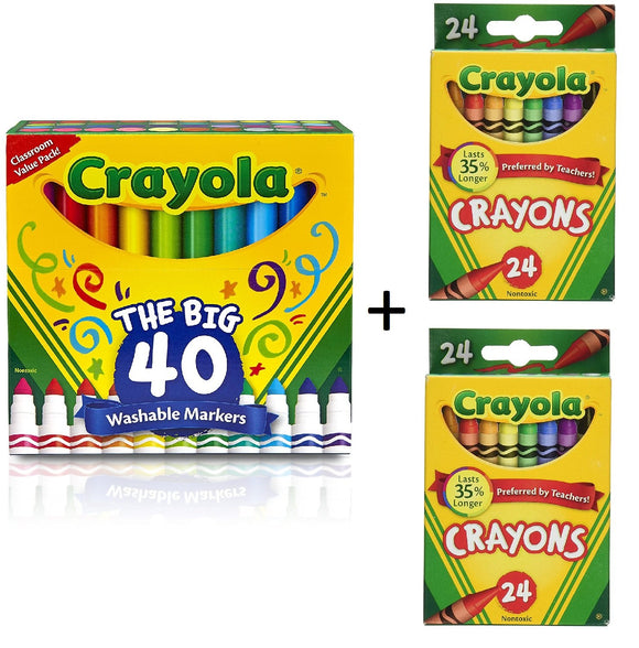 Crayola 40Ct Ultra-Clean Washable Markers, Broad Line, Easter Basket Stuffers With 2 Packs Of Crayola Crayons (48 Count)