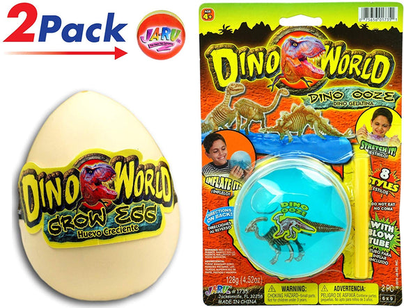Ja-Ru Jurassic Hatching Egg & Dino World Blowing Stress Slime Dinosaur Surprise Ooze (2 Games Pack) New Novelty Stress Slime And Egg Great Party Toys. Item #1735-1745