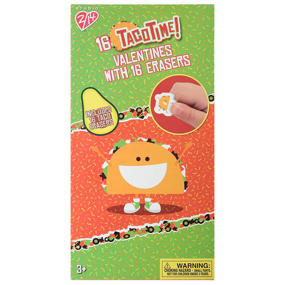 Paper Magic Group 4351903-Acamz Taco Time Valentine'S Day Cards And Erasers For Kids, 32 Piece