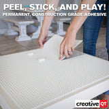 Peel-And-Stick Baseplates - Self Adhesive Building Brick Plates - Compatible With All Major Brands - - White - 10 Inch X 10 Inch - By Creative Qt