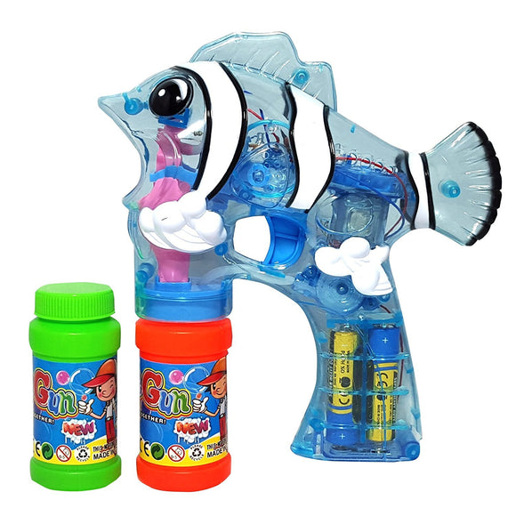 Lilpals Clear Blue Bubble Gun Shooter  Fely The Fish Blaster With Light And Sound - Bubble Solution Included, For Kids 3 Years Old And Above