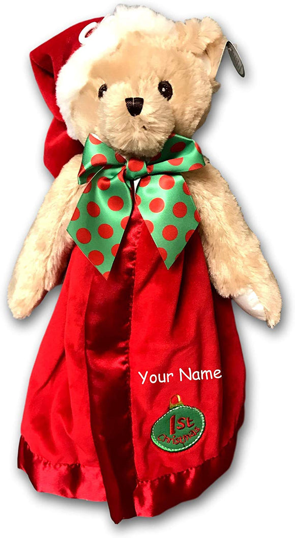 Personalized Bearington Teddy Bear Baby'S 1St Christmas Plush Snuggler Security Blanket Blanky - 15 Inches