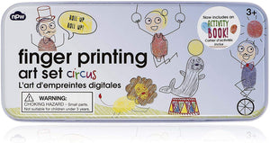 Npw-Usa Finger Printing Art Set In Tin Circus Animals Arts And Crafts Kit