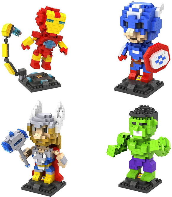 Loz Diamond Block Super Hero Series The Avengers Iron Man Captain America Thor Hulk Set Of 4
