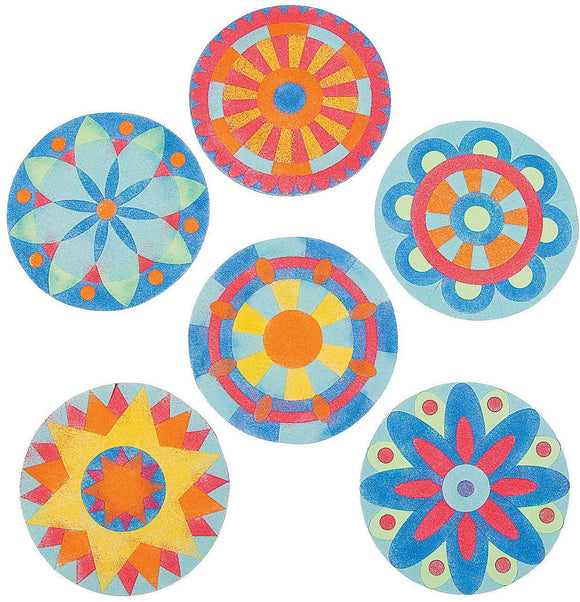 Mandala Sand Art Craft Kits (Makes 24) Colorful Sand Included