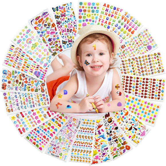 Coopay 1400+ 3D Puffy Stickers For Kids, 20 Different Sheets, Bulk Stickers For Girl Boy Birthday Gift, Scrapbooking, Teachers, Toddlers, Including Animals, Stars, Fishes, Hearts And More!