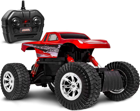 Sharper Image Rc All Terrain Monster Rockslide Truck, Spring-Loaded Shocks And Knobby Tires For Off-Road Action, Wireless Full-Function 2.4 Ghz Remote Control For Racing Multiple Vehicles