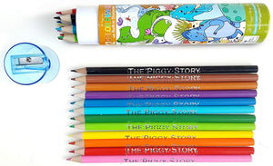 The Piggy Story 'Dinosaur World' 12-Piece Colored Pencil Set With Built-In Sharpener Cap For Kids