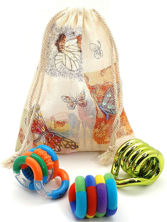 Sanandco Set Of 3 Assorted Tangle Jr. Fidget Toys - Fuzzy, Metallic And Textured - In Butterfly Cotton Drawstring Carry Bag