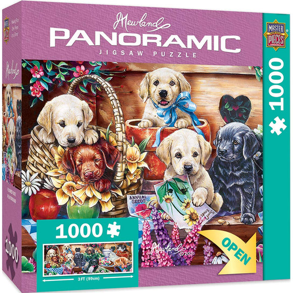 Masterpieces Artist Panoramics Jigsaw Puzzle, Flower Box Playground, Featuring Art By Jenny Newland, 1000 Pieces