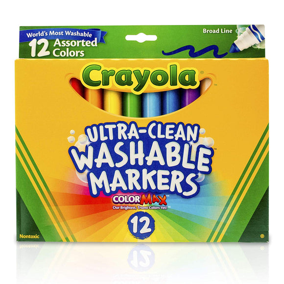 Crayola Bin587812Bn Ultra-Clean Markers, Broad Line, Assorted Colors, 12 Per Box, 3 Boxes