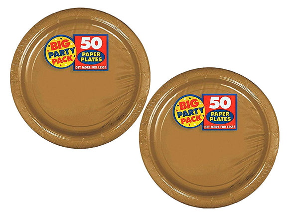 Amscan Big Party Pack Gold Paper 7 Inches Dessert Plates - Bundled By Maven Gifts