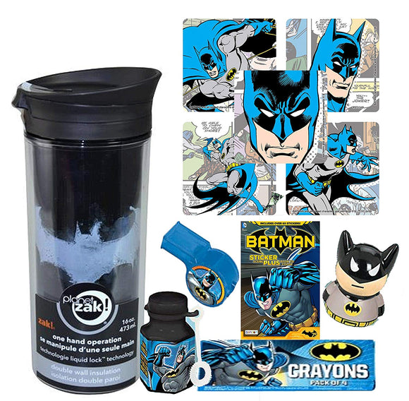 Dc Comics Batman Fun Sip Favor Cup! Valentines Gift, Easter Basket Filler, Stocking Stuffer Or Party Favor! Pre-Filled & Ready For Giving! Includes Keepsake Tumbler, Stickers & Favors!