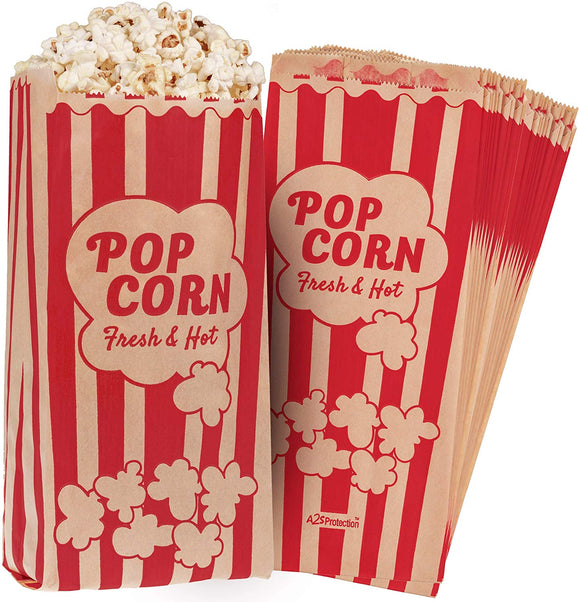 Popcorn Bags Kraft Paper Red Printed Vintage Retro Style 125 Pcs Large 11 X 5 X 3 - Coated - Oil / Grease Proof - Prevent Salt Popcorn Seasoning Popcorn Kernels & Pop Corn Oil To Drop