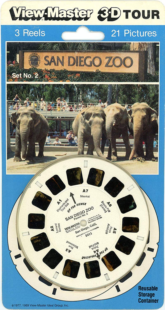 San Diego Zoo - Set 2 - Classic Viewmaster 3 Reels On Card - New